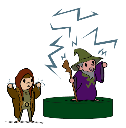 A cartoon depicts a halfling druid and wizard performing a magical speech.